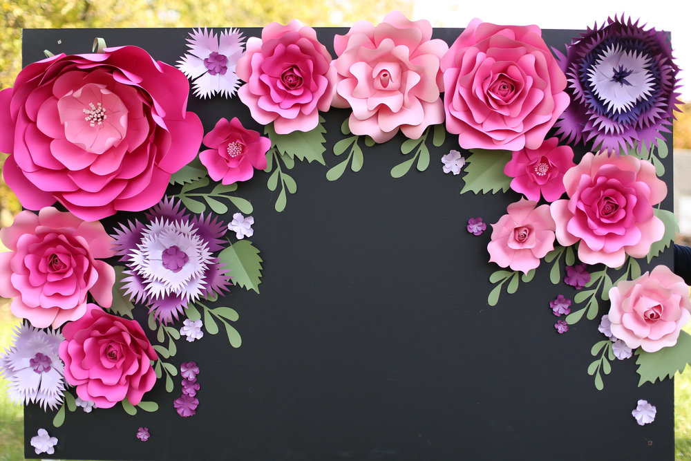 Chalkboard_Backdrop_Giant Paper Flowers_ backdrop display_ dessert table backdrop _ Kate Spade inspired dessert table decor_ hot pink and purple flowers for backdrop _ chalkboard backdrop_unique 1.jpg