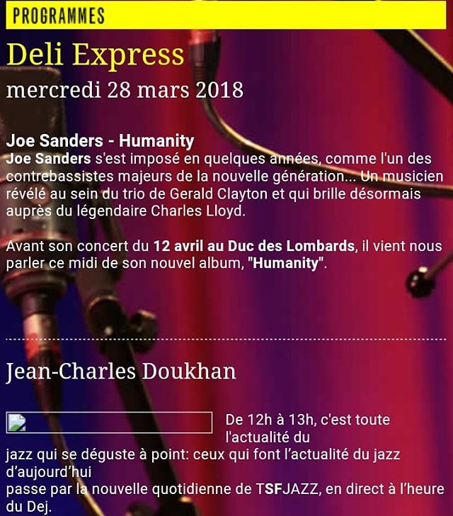 Happy to join @jeancharles_doukhan in his Deli Express on @tsfjazz today at noon. Check it out! TSFJazz.com  #jsinfinity #humanity #radio #ontheinternet