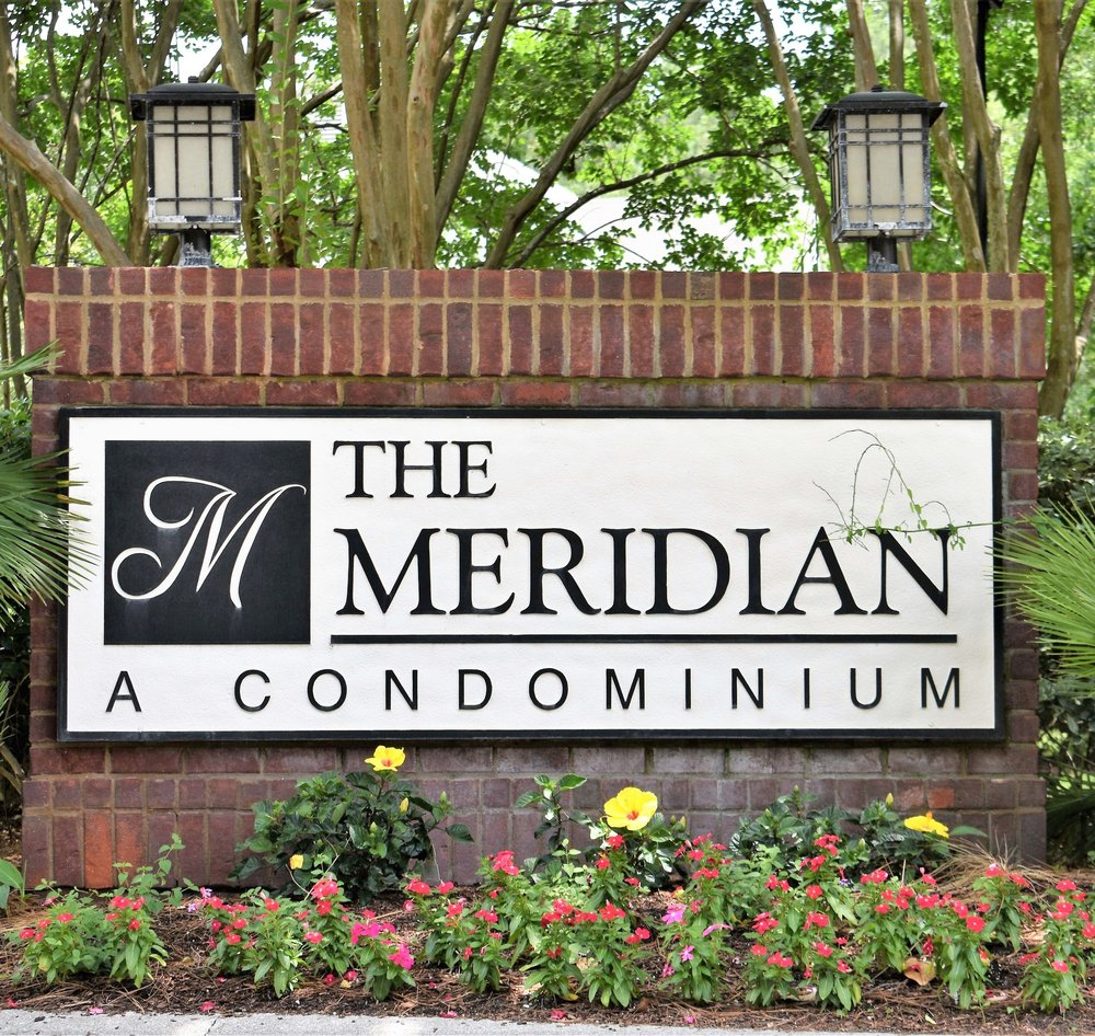 in Mount Pleasant, SC - The Meridian is a condominium community of 256 individually owned, 1, 2 and 3 bedroom condos on over 32 landscaped acres. Our Clubhouse/Administrative office has a spacious meeting room, big-screen TV, library, and hosts community events and club meetings. There is a well equipped exercise room and a laundry facility. Our Home Owners Association fees are based on condo unit size and range from $200 to $449 per month and include water, sewer, pest control, exterior maintenance, property liability and flood insurance, and access to all amenities including fish-stocked ponds, tennis and basketball courts, picnic grills, children's playground, volleyball court, plus a car care/wash station. There is boat parking for a small fee. Our beautiful pool, clubhouse porches and decks are a center of warm weather activities. The Meridian is 3 miles over the Isle of Palms Connector to the beaches, and 6 miles to downtown Charleston.