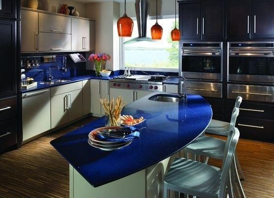 Some people love color. This eye-pleasing blue is contrasted by the neutral cabinets and flooring, which really makes i pop.