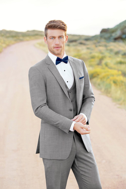 Ultra Slim Heather Grey Clayton Suit by Allure Men