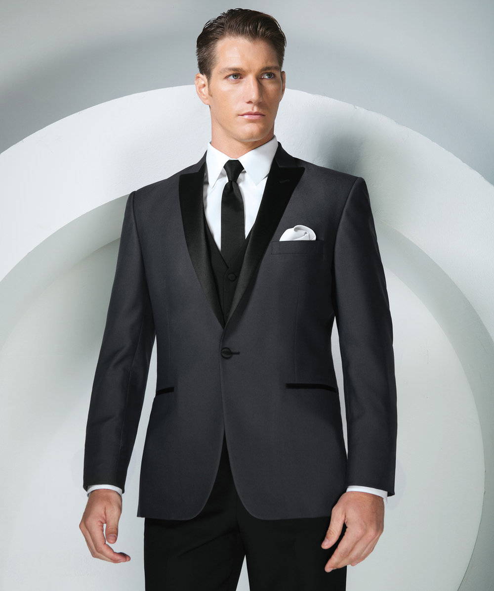 Grey Portofino Slim Fit Tuxedo by Tony Bowls