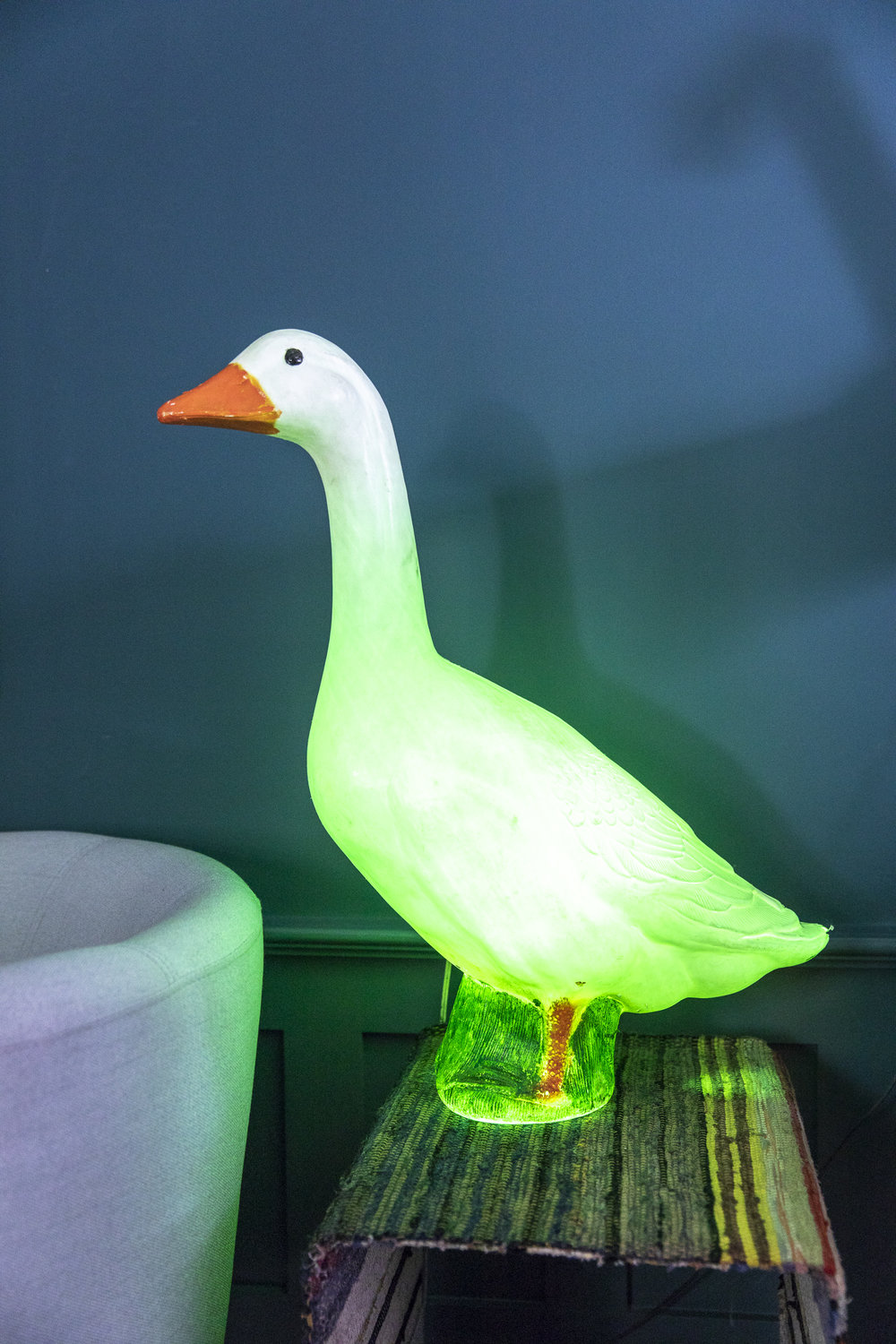 GLADYS, THE GOOSE Goose Lamp designed by Don Featherstone, New York. Our beloved vintage goose is a true rescue, salvaged from a sidewalk in Manhattan by our owner, as it was just sitting there waiting for the garbage truck.