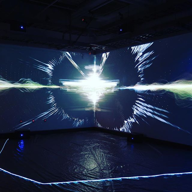 The Allotope Krotona. Interactive immersive installation with OptiTrack spatial tacking, 16.2 spatial ambisonic sound, and 3D projection.