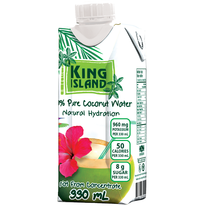 100% Pure Coconut Water - 330 mL King Island coconut water is from young green coconuts in Thailand. Not from concentrate. No sugar added. No preservatives added. Fat free. Cholesterol free. Allergen free. Gluten free. GMO Free. Excellent source of potassium. Source of magnesium.  The natural and refreshing way to rapid re-hydration. Ingredients: 100% Pure Coconut Water Case packs: 12x330mL