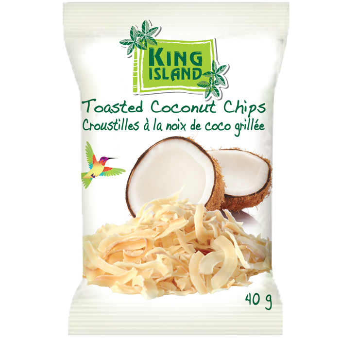 Toasted Coconut Chips - 40 g King Island coconut chips are carefully selected from premium Thai coconuts. The nutritious coconut meat is lovingly sliced and toasted to perfection in small batches. The naturally sweet, buttery crunch of the coconut chips are simply delicious and irresistible. Our coconut chips are a healthy snack and a great topping for ice cream, yogurt, and salads. 100% Natural. Dairy free. Gluten free. Cholesterol free. Vegan. High in fibre. No preservatives added. Ingredients: Coconut meat, coconut palm sugar, sea salt Case packs: 24x40g