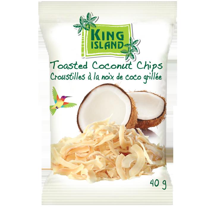 Toasted Coconut Chips - 40 g    Les croustilles de noix de coco de King Island sont sélectionnées avec soin à partirde noix de coco thaïlandaises de première qualité. La chair de noix de coco nutritive est tranchée et grillée à la perfection en petites croustilles. Les croustilles de noix de coco naturellement sucrées, croustillantes et au goût de beurre sont tout simplement délicieuses et irrésistibles. Elles constituent une collation santé et accompagnent parfaitement la crème glacée, les yogourts et les salades.    100 % naturel. Sans gluten. Convient aux végétaliens. Teneur élevée en fibres. Sans produit laitier. Sans cholestérol. Sans agents de conservation   Ingrédient  s:   Chair de noix de coco, Sucre de palme de cocotier, Sel de mer  Format de la caisse: 24x40g
