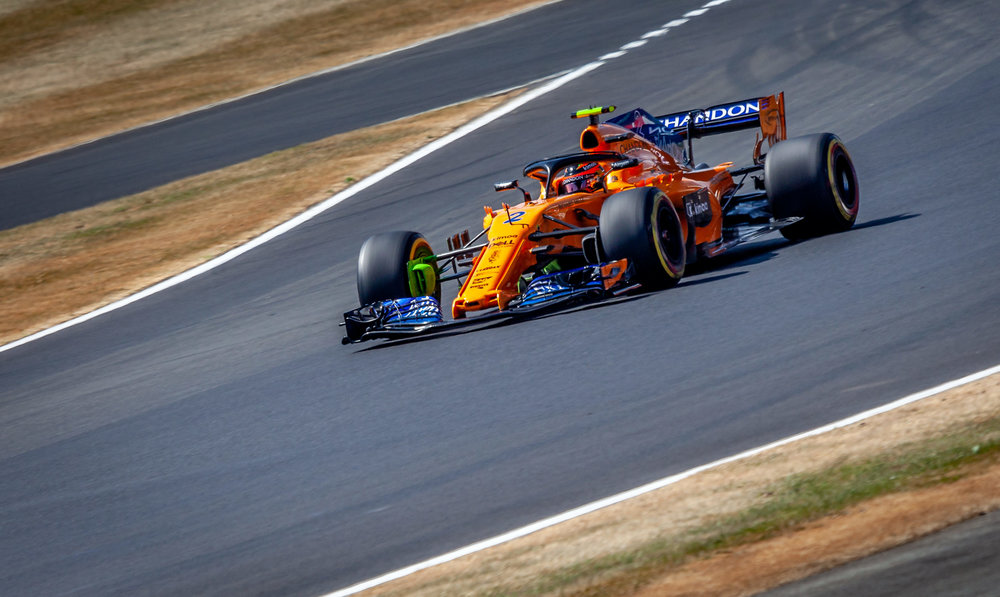 Stoffel Vandoorne driving the No2 McLaren Renault on Friday's first practice.