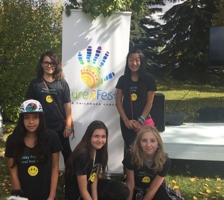 Natasha's friends at CureFest (Top, from left: Sarah, Cherry. Bottom: Laura, Polina, Claire.) Learn more about Natasha and how CureFest came to Canada  here