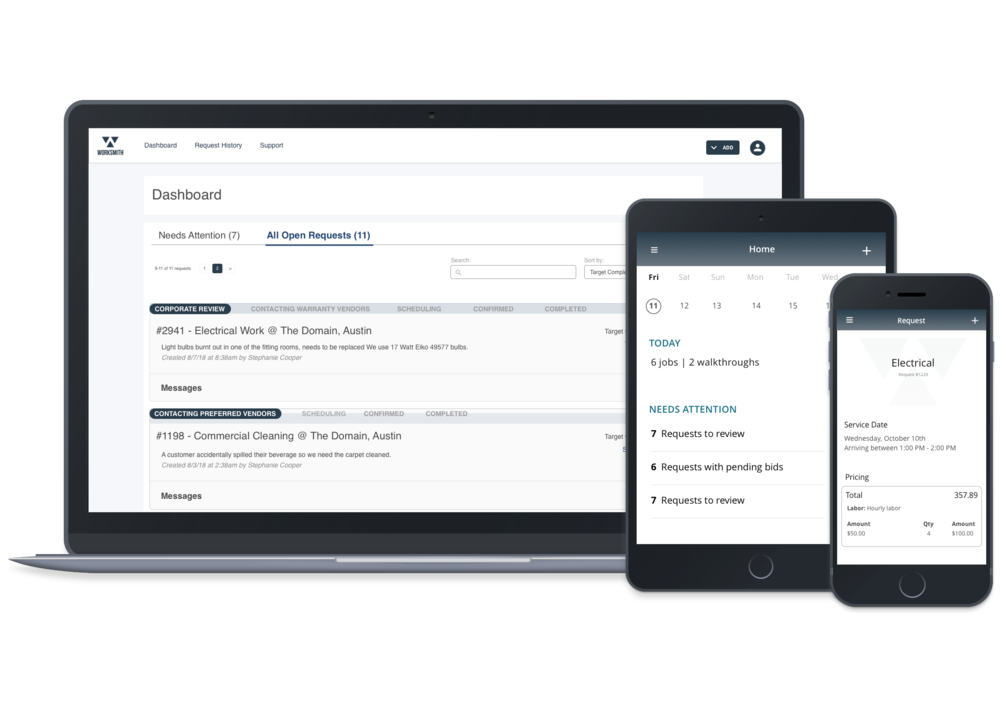 Streamlined Service Requests - Our platform automates the manual process of placing a service request, receiving competitive bids, scheduling a job, tracking completion, and paying vendors.