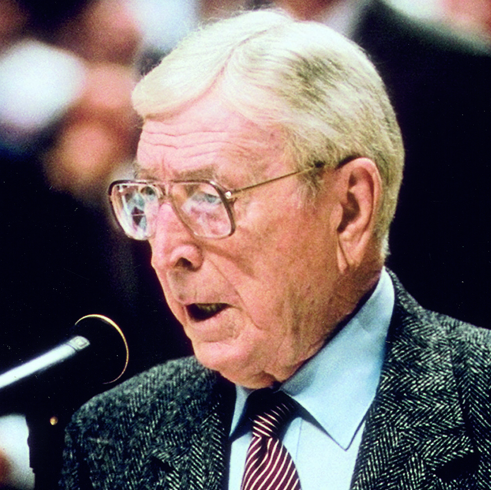 2000 - John Wooden - Exhibiting excellence in sport, Wooden is the only man to be in the Naismith Memorial Basketball Hall of Fame as a player and a coach. His legacy results from his unparalleled championship-winning record along with his brilliance as a tactician and teacher.