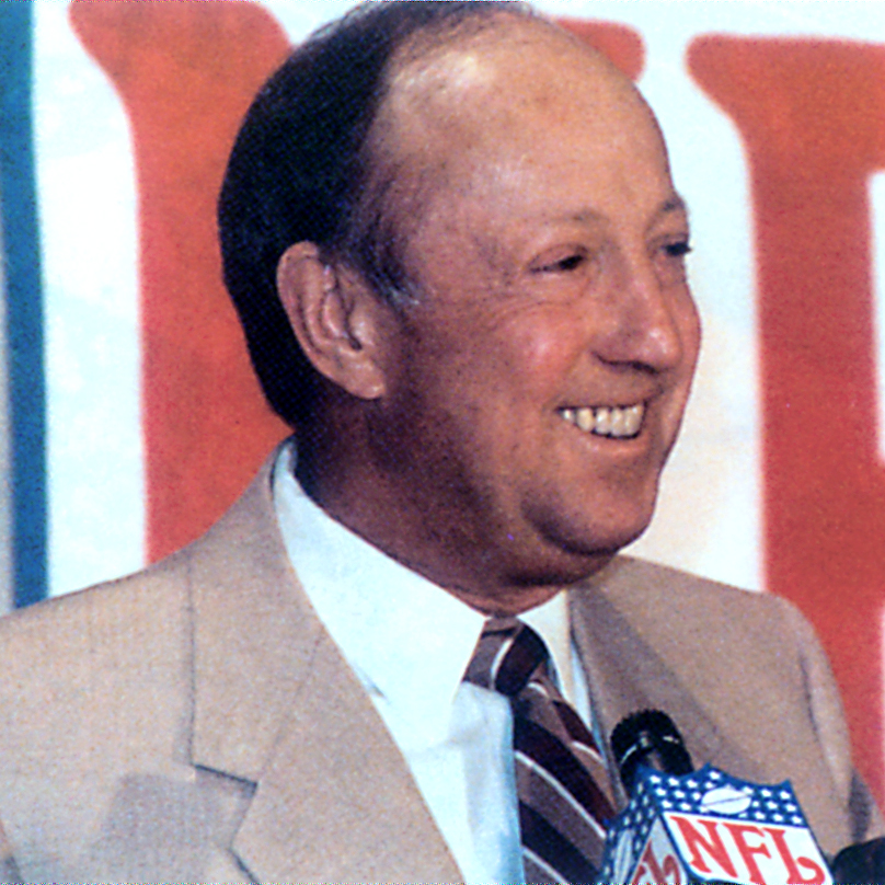 1991 - pete rozelle - Pete Rozelle, an influential leader in the NFL, received the inaugural Vince Lombardi Award of Excellence. As NFL commissioner, Rozelle presented the World Championship Game trophy to Coach Lombardi after the Packer's victory in Super Bowl I.