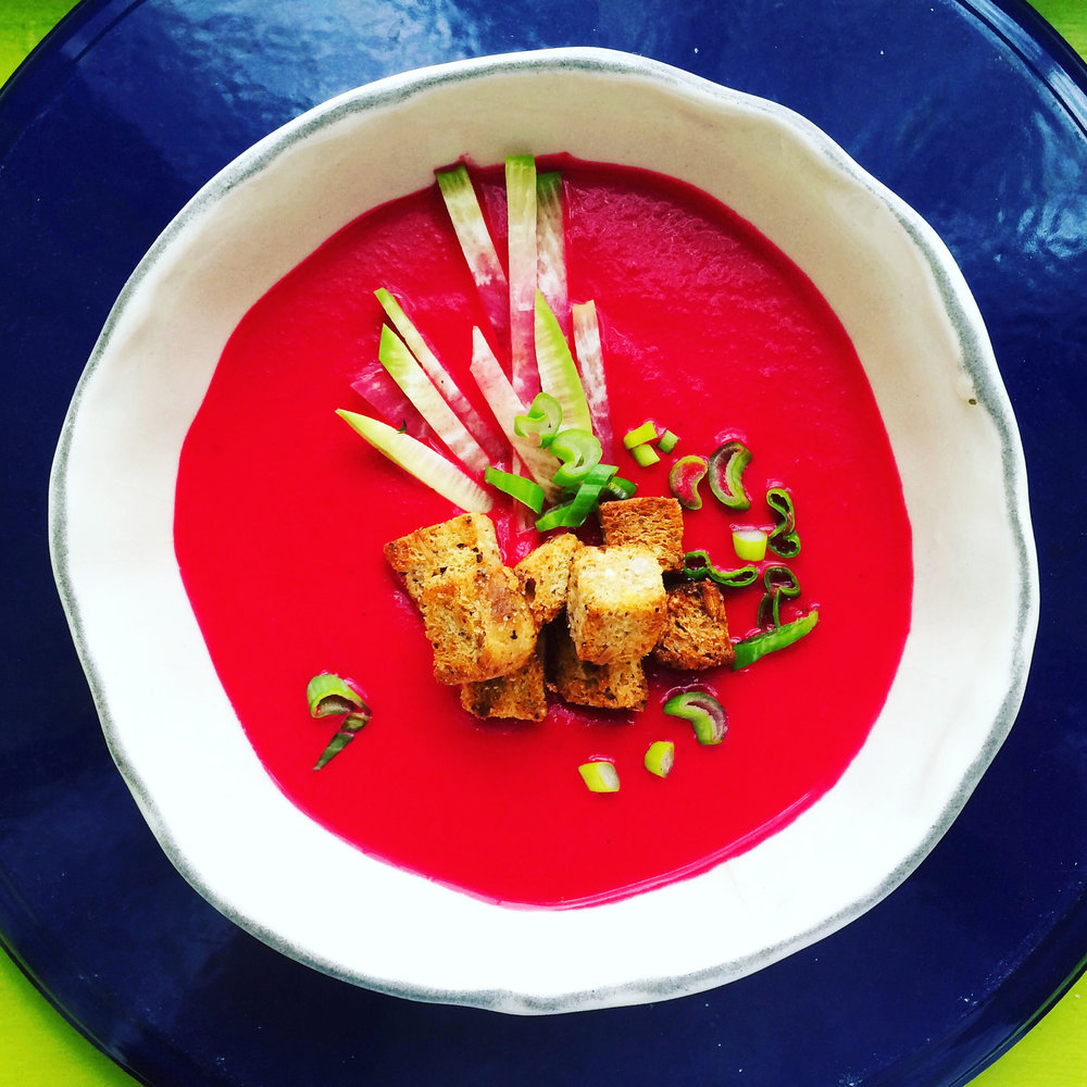 Beet + Carrot Creamy Soup, Ginger Croutons + Scallions + Radish