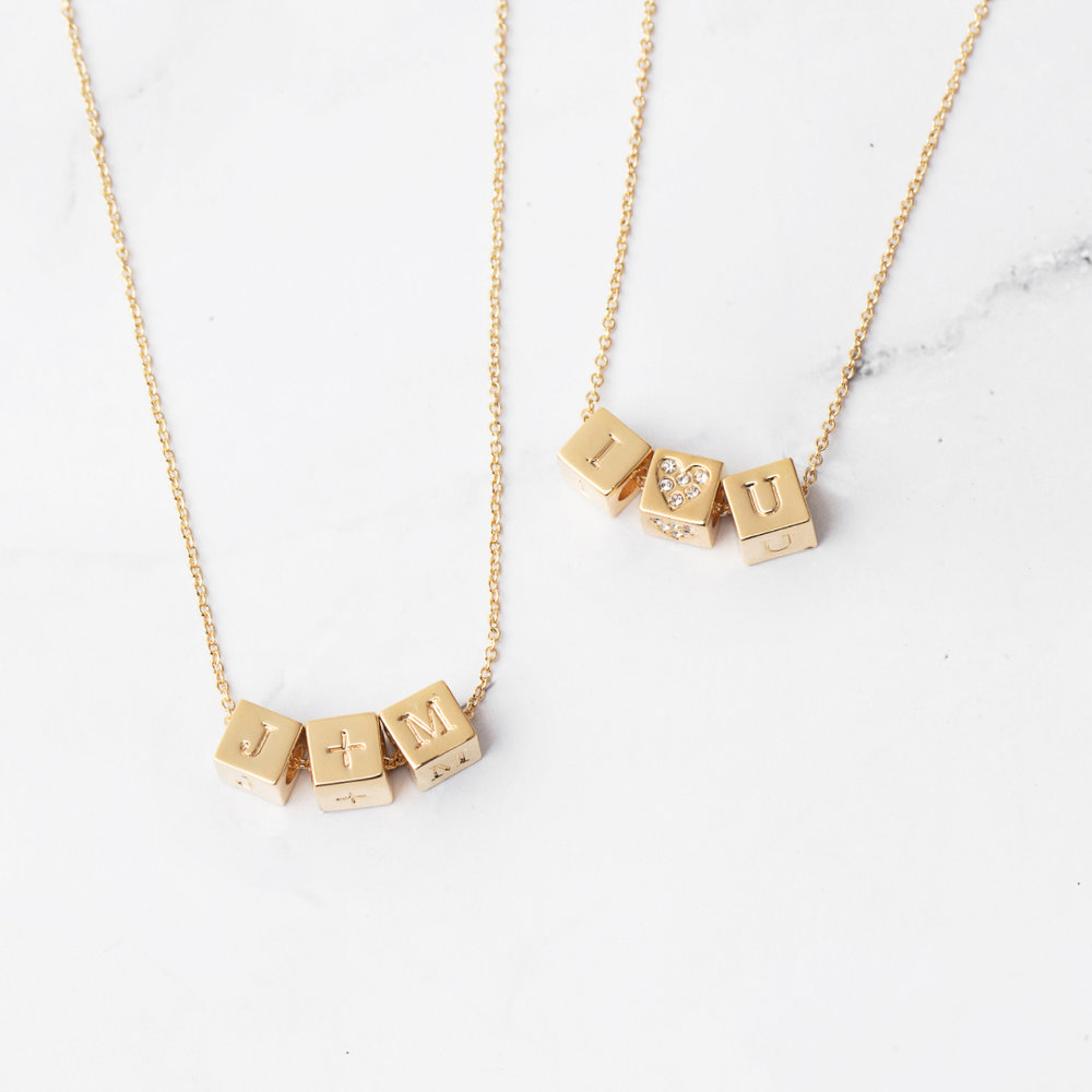 Custom Block Necklace: Spell your favorite word, name, initials, or place in blocks. Perfect for kids' initials or jersey numbers. Easy to swap out or add to whenever you need to!