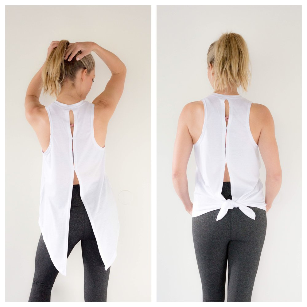 Alysa's Favorite - I absolutely love the Flow Tank! The detail in the back is beautiful and I love how you can let it hang loose or tie it for a more fitted look. I've been trying to mix in more yoga with my running plan, so this is perfect! I'm wearing the flow tank with the Reform Bra and Lunar Legging (which are super high waisted, full length, and have ah-mazing compression).