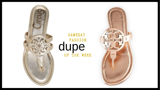 Hi guys I'm Madison from  Gameday Fashion ! My dupe of the week is this pair of super cute  Canyon Medallion sandals by Sam Edelman . We all love the  Tory Burch Miller Medallion sandals  but not all of us love the price. If you're trying to ball on a minor league budget, grab this dupe! The only difference between the two really is the price!  If you're looking for Gameday style inspiration stick around on our baseball life for more Fashion Fridays. You can also follow along on the  LIKEtoKNOWit app  or head to our page  @gamedayfashion  for some more Gameday Inspo!