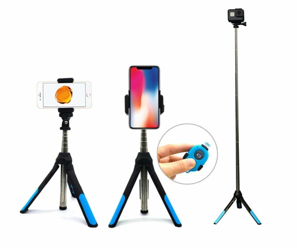 Rotating Tripod/Selfie Stick - It's time to upgrade your selfie stick, Ma.With the recent(ish) release of instagram TV, vertical video is now a legitimate thing.This is the stick of all selfie sticks. Not only is it compact and pocket sized when all folded up, the phone grip rotates from vertical to horizontal, it also functions as a telescoping tripod.I put a lot of thought and research into this one, and trust me, based on price and functionality, this is THE BEST one on the market.
