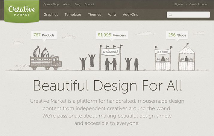 Creative Market - The non graphic designers go to source for beautiful design elements.It is the