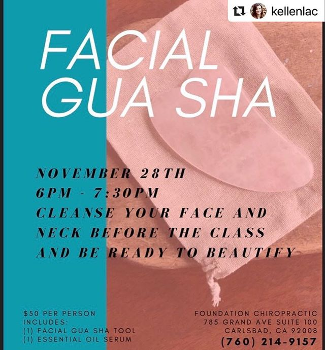 Ladies (and gents) join our Acupuncturist @kellenlac at her Facial Gua Sha class! #Repost @kellenlac with @make_repost ・・・ Come to my class to learn a quick way to revitalize, refresh and get your glow on in a matter of minutes! Call to reserve your spot 760.214.9157 #facialguasha #holidayglow #bloodflow #wrinklereduction #collagenproduction #nomorepuffiness #selfcare #carlsbad #carlsbadvillage #localbusiness