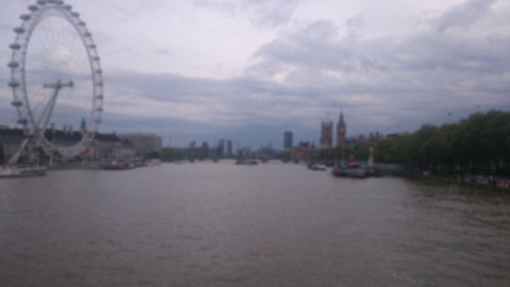 Blurry London by   K aylee Skye - This image serves as an accurate replication of acuity suppression as seen from the golden jubilee footbridge in central london.