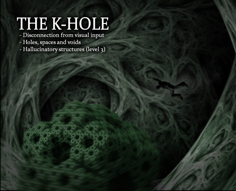The K-Hole by Josie Kins - This image serves as an artistic replication of the common and simultaneous dissociative-induced effect known as visual disconnection, holes, spaces and voids and hallucinatory structures.