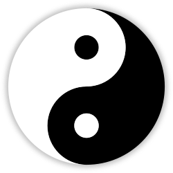 In Chinese philosophy, the  yin and yang  symbol is used to represent the interdependent nature of opposites.