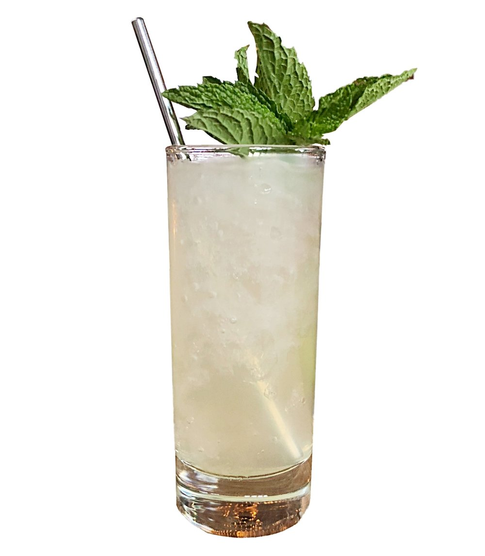 MOJITO  10ml Mint Simple Syrup 20ml Fresh Lime Juice 50ml Norseman White Rum  Build on a huge mountain of ice and top with sparkling water. Garnish with a sprig of fresh mint.