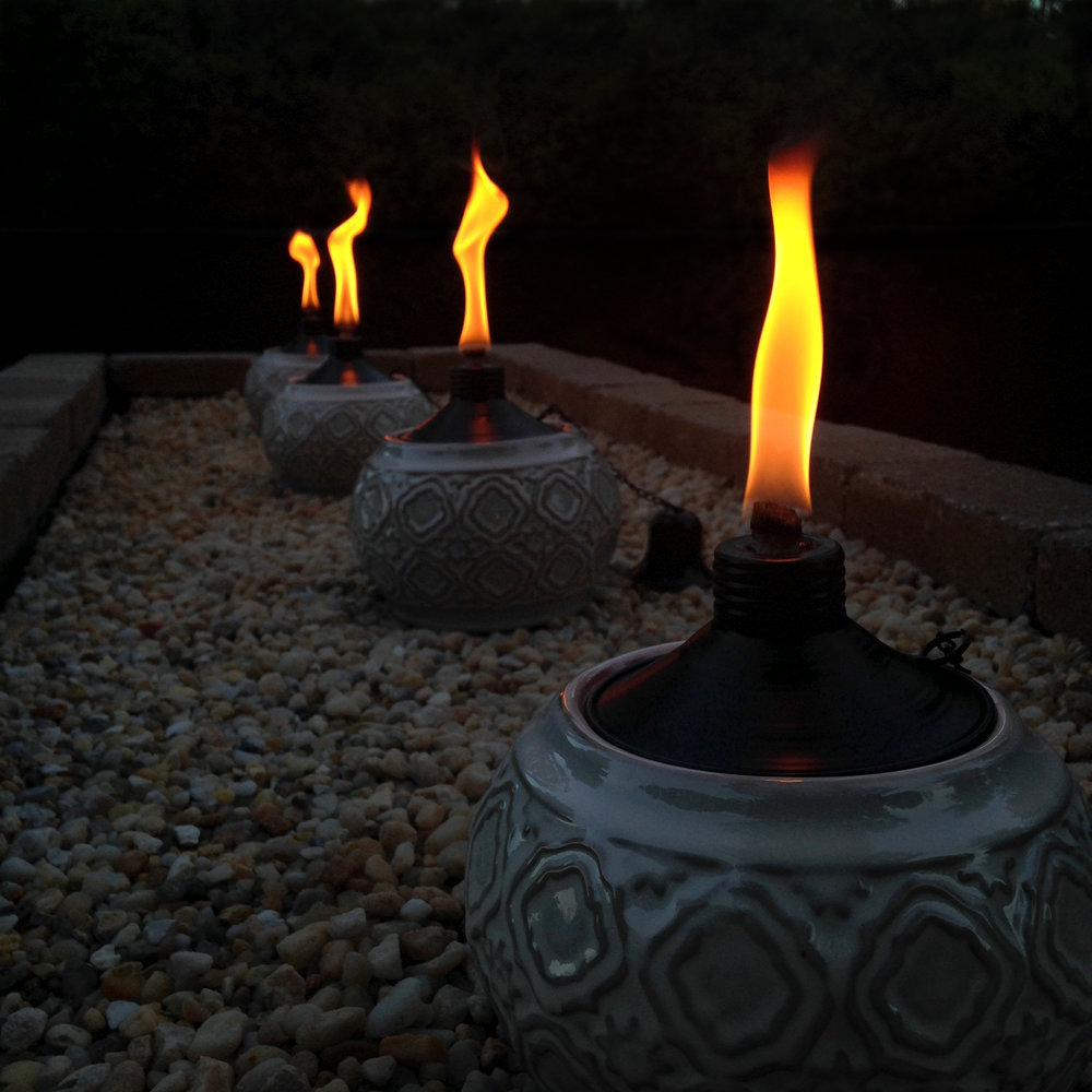 Optional - Add pea gravel and tabletop torches atop the backstop portion of your water feature for an additional attraction. The 6-pc LED Mini Lights and 3-pc Pond & Landscape Lights can also be added for more lighting in and around your new water feature.
