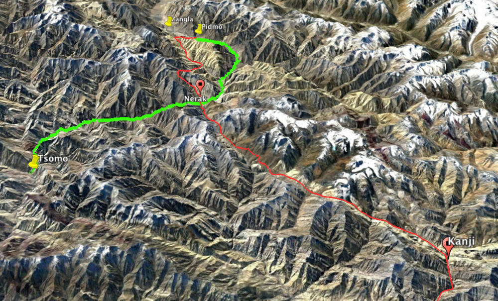 - Zanskar is a remote valley in the region of Ladakh in Northern India12 Days Hiking (red) - 3 Days Rafting (green)1.LEH-KANJI2.KANJI-YOKMALA BASE3.YOKMALA BASE-SHILAKONG SUMDO4.SHILAKONG SUMDO-.NYUTSELA CROSS-SPANGTHANGCHAN5.SPANGTHANGCHAN-PHOTOKSAR6.PHOTOKSAR-SINGELA BASE7.SINGELA BASE-8.KOGMA-LINGSHED-HANUMALA BASE9.HANUMALA BASE-NEYTSE10.NEYTSE-HANAMUR11.HANAMUR-PIDMO12.PIDMO-ZANGLARAFTING1.ZANGLA-NEYRAK2.NEYRAK-TSOMO3.TSOMO-LEH