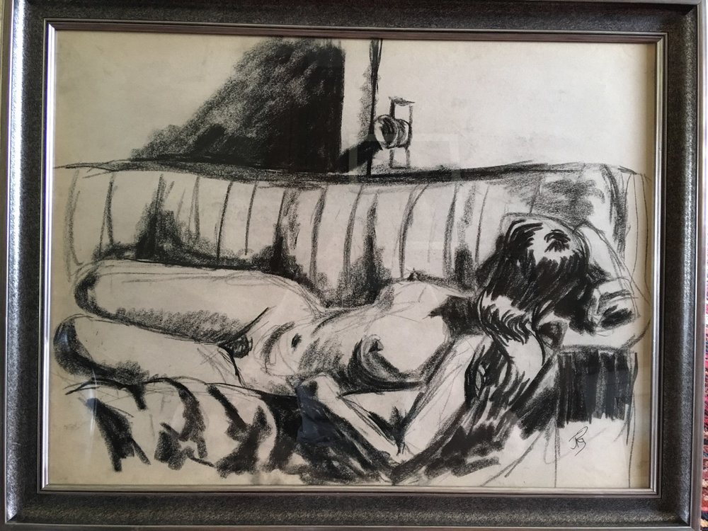 Reclining Nude   Charcoal   Drawing