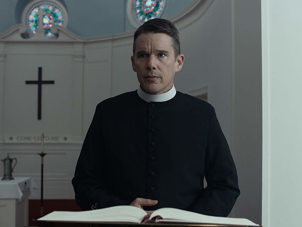 "12. ETHAN HAWKE | Rev. Ernst Toller | FIRST REFORMED    A priest in upstate New York begins to see his private life and parochial life blur together after he counsels a young couple in the days leading up to his church's 250th anniversary.   ""I had never played a priest but when I was born, my great-grandmother felt certain that I was going to be a priest. She used to tell me I had to listen for the calling. I was petrified because I didn't want the calling to be a priest; I wanted to be in the arts.  I think that most people who are cognizant, it's not much work for them to feel a sense of despair. That is not far from us at any given moment. Self-loathing is sadly something that comes pretty easily to human beings. We disappoint ourselves so much about what we feel we are capable of and the person we want to be. We're not sure whether it's [because of] our own shortcomings or society's shortcomings that we can't be the person we want to be. All that is Reverend Toller's experience.  This movie gave me an opportunity to [use] what I've learned and what I've been thinking about, what my parents have been talking about, my brothers and sisters, for my whole life. All of that vibrated in the walls of this movie."" -  Independent, July 10, 2018    (director Paul Schrader):  ""He was just coming to a very interesting place in his physical life. By that, I just mean [the] physical quality of his face that I thought 'You know? I think he's the right guy right now for this.' You can see a number of lessons in his face that he doesn't have to act. Life has put them there."" -  NPR's Fresh Air, June 12, 2018"