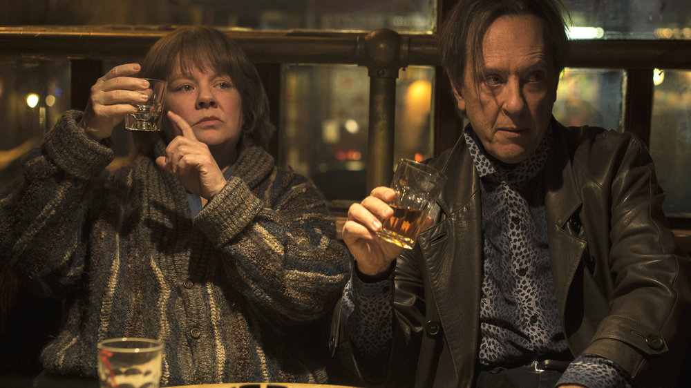 "16. MELISSA MCCARTHY, RICHARD E. GRANT | Lee Israel (McCarthy), Jack Hock (Grant) | CAN YOU EVER FORGIVE ME?    A biographer, reaching rock bottom in her career and personal life, turns to creating celebrity forgeries, with her best friend as accomplice, in Marielle Heller's adaptation of novelist Lee Israel's true story.    (McCarthy on playing Lee Israel):  ""What would any of us do? I mean, this was her survival. This wasn't like, she saw a great grift and like wanted a new car. It was like, what would any of us do? I thought about if I couldn't take care of my children, what would any of us do? And it's not that unreasonable to think you are pushed into circumstances that you, you know, you would think you would never find yourself. And that would be the great human equalizer, it's like no one can look at her story and say, well I would never do that. Because she was on welfare, it's like, what else would you do?"" -  Forbes, October 26, 2018    (Grant):  ""I didn't know her story, but I had her biography of Tallulah Bankhead, which I'd read, and which is really good. I had her name on my bookshelf but this story, I didn't know. I thought, 'How is it possible that I didn't know about this story?' It's such an extraordinary, grand feat of literary ventriloquism that she pulled off, passing off these letters of really great writers of such disparate talents and styles in the 20th century. I thought that was an amazing thing. Now her story's out there. I just wish that she was alive to see how celebrated it is for her crimes. Crimes of passion really.  It's a buddy heist. It's like a buddy road movie to me, one that happens to go through the highways of Manhattan, from bar to bookshelf to bar to bookshelf to seedy apartment and then back again. Like  Butch Cassidy and the Sundance Kid  in the Wild West of Manhattan and downtown in the 1990s, without the guns and the pistols. There's no dead bodies."" -  Vox, October 18, 2018"