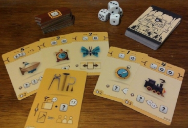Whimsical Steampunk Card Game with Dice