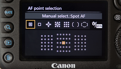 Single-point Spot AF area selection mode