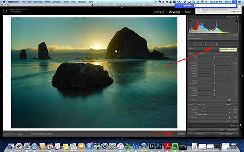 "The""Pin"" is visible from using the Brush Tool to adjust the dark volcanic rock of Haystack Rock on Cannon Beach."