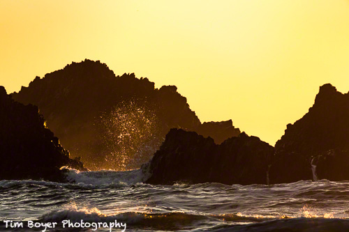 Backlit waves at Seal Rocks on the Oregon Coast.