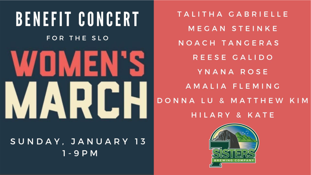 All participating musicians are volunteering their time so that 100% of the ticket sales can go to the SLO Women's March