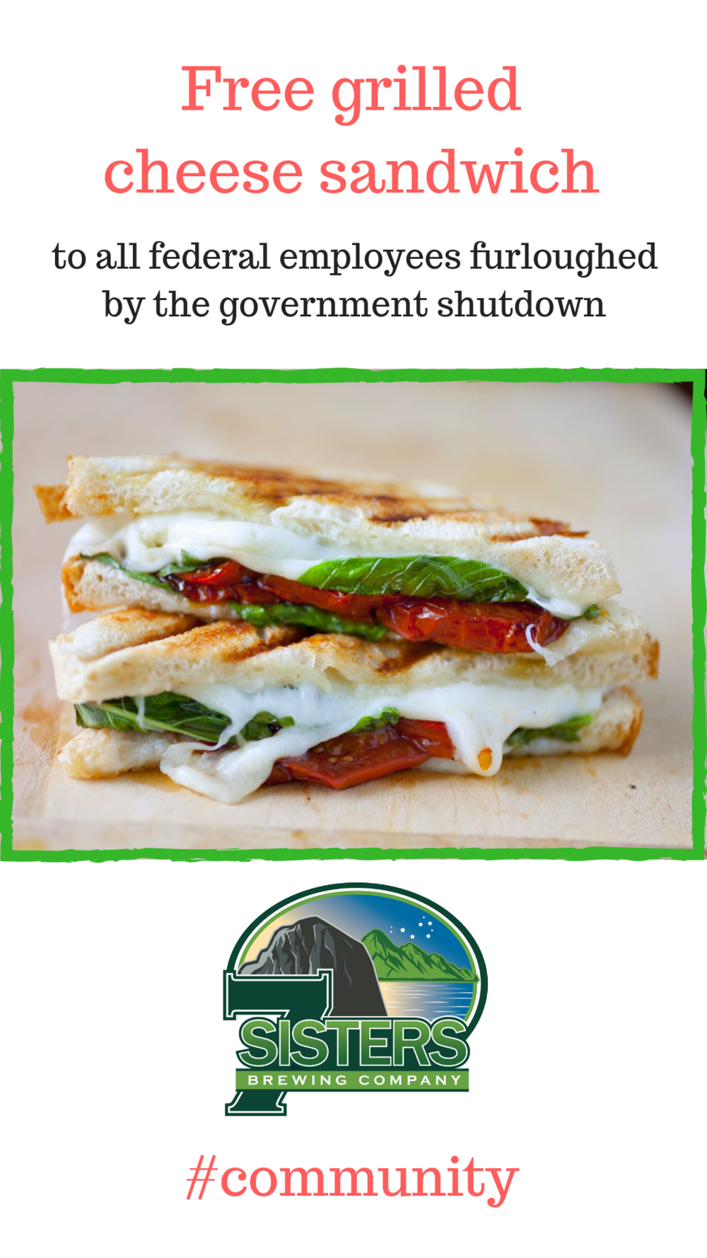 Gourmet grilled cheese sandwiches are free to furloughed federal employees for as long as the 2018-19 government shutdown lasts