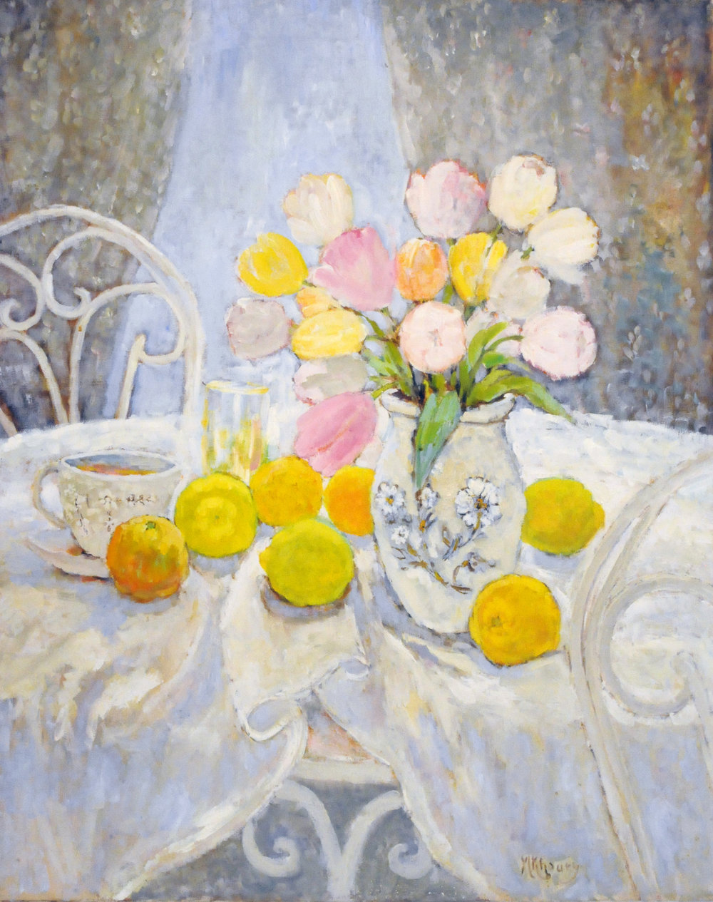 Still life with tulips & citrus,Michael Khoury