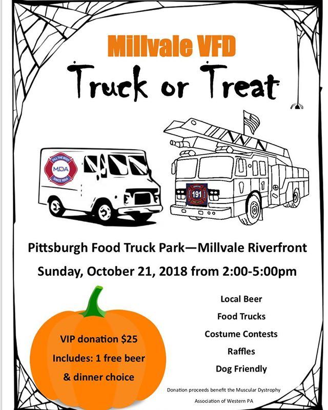 This Sunday we will be open to the public for this awesome Millvale VFD fundraiser with the @mdapittsburgh and the @millvalefire191 Please join us with  @mainsqueezejuice412  @spealsonwheels  @ashandkriskitchen  Windows up 2pm-5pm! #fallfun #riverfront #vfd #millvale #mdapittsburgh #foodtrucks #localbeer