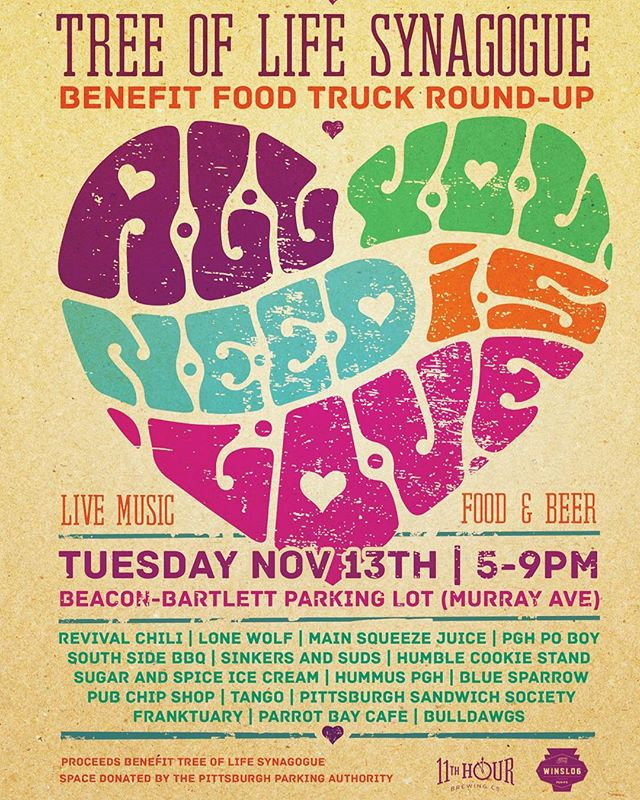We are closed for the season but check out this awesome event our friends from @winslo6pgh are doing! Don't miss some of Pittsburgh's best food trucks on November 13th in Squirrel Hill, the trucks are donating 100% of their proceeds to the Tree of Life Synagogue! There will be live music and beer also! Don't miss it!  #pittsburgh #community #412 #foodtrucks