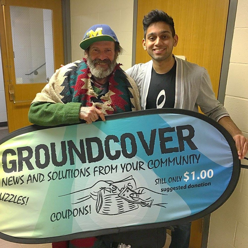 Roberto and Hussain excited to present the Groundcover banner.