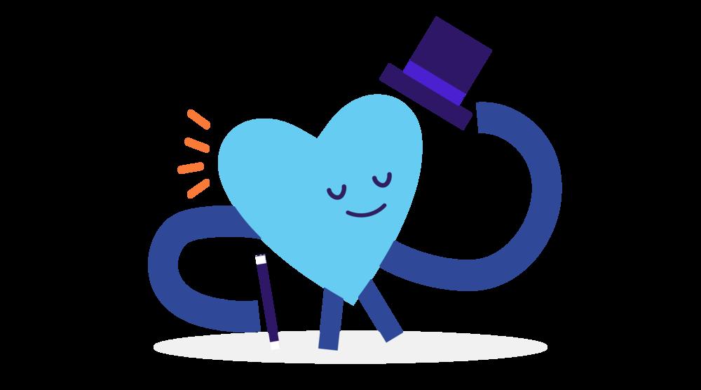 blue heart man illustration