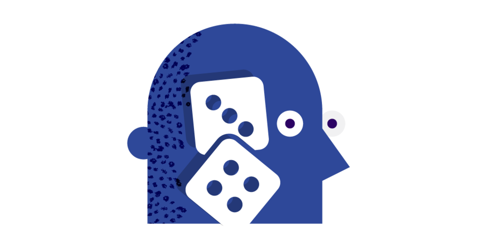 gambling dice head illustration