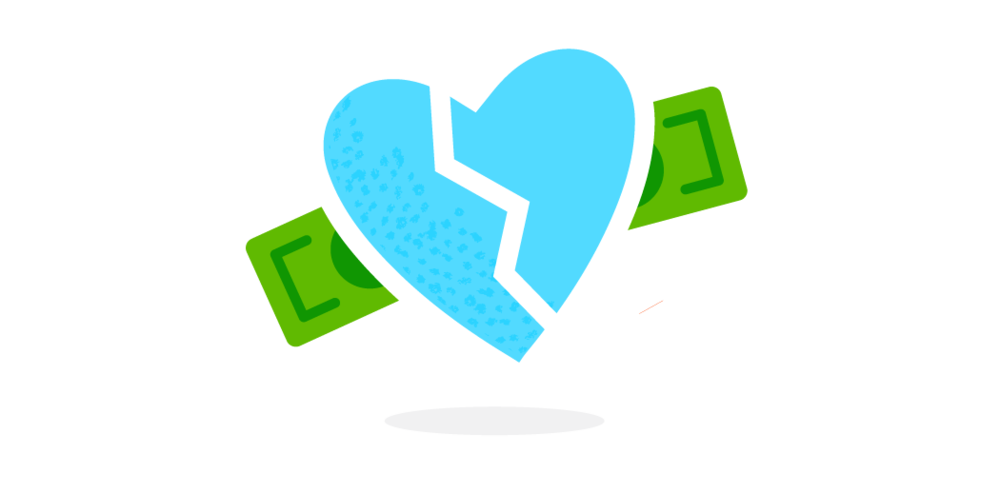 broken heart money illustration