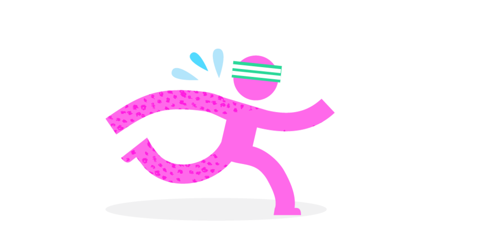 pink man running illustration