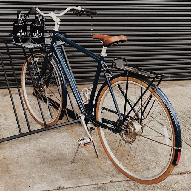 Dave is left heartbroken, as his beloved bike was stolen this morning from Kakaako.. It is a vintage, dark blue bicycle with a chainless belt drive, leather seat, and racks in both the front and back. Any information on its whereabouts or leads to its safe return will be rewarded with a keg of beer and the endless gratitude of a now bikeless brewmaster. #FINDDAVESBIKE