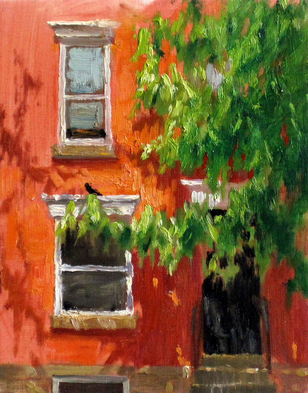 W-NITC-Spring Green Against Brick-Dalrymple-8x10-oil on board-2012-SOLD.jpg