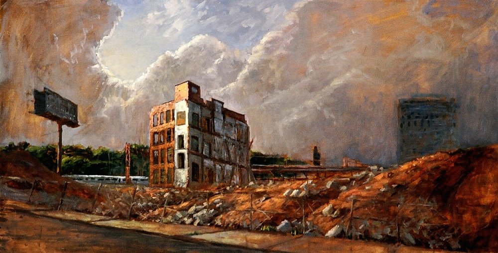 End Of An Era, 30 x 50, oil on linen This painting was done for an exhibit at the New Jersey School of Architecture which spoke to the demolition of the long standing Westinghouse Factory in Newark, NJ