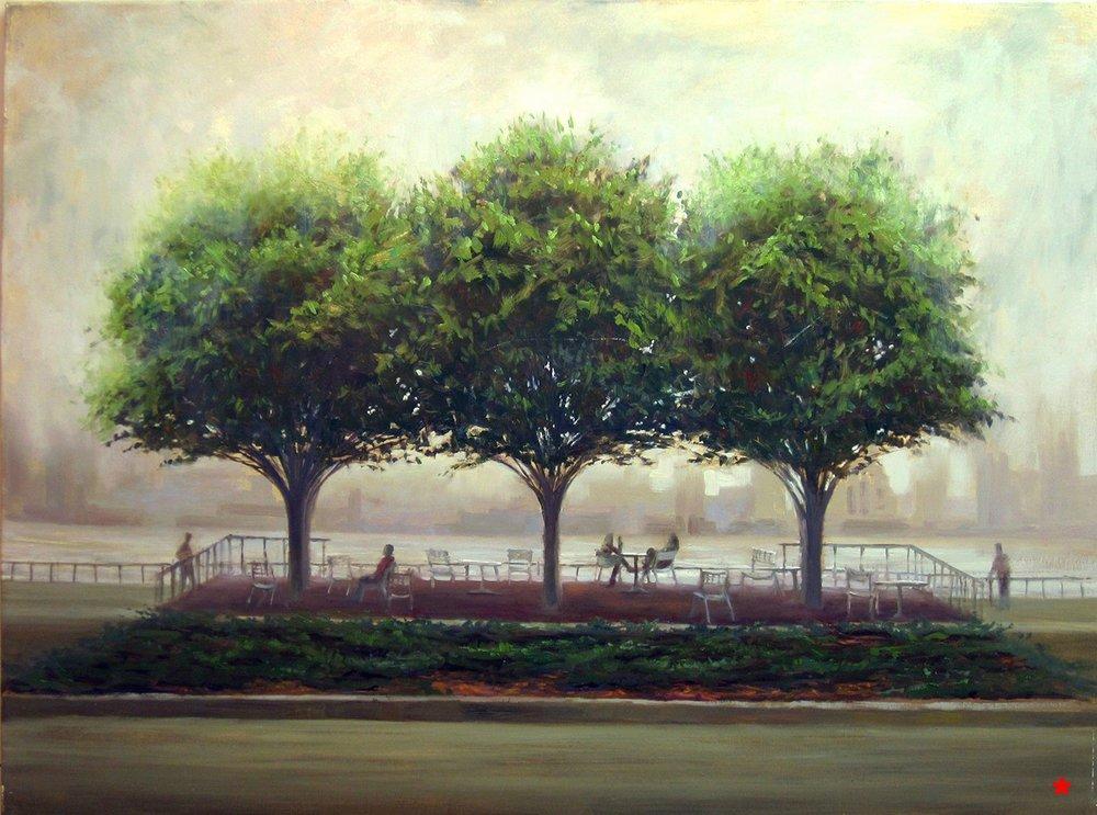 W-NITC-Three Trees In Fog-Dalrymple- 30x40, oil on canvas (2009) SOLD.jpg